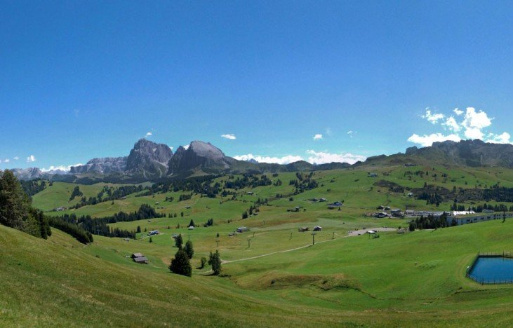 Fabulous panoramic view from the mountain restaurant on the Alpe di Siusi